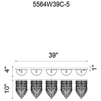 Della 5 Light 39 inch Chrome Wall Sconce Wall Light