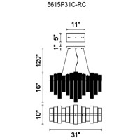 CWI Lighting 5615P26C-RC Engaged 6 Light 28 inch Chrome Down Chandelier Ceiling Light
