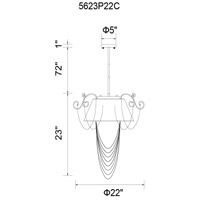 Draped 5 Light 22 inch Chrome Chandelier Ceiling Light