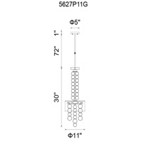 CWI Lighting 5627P11G Chained 3 Light 11 inch Gold Pendant Ceiling Light