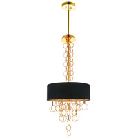 CWI Lighting 5627P16G Chained 4 Light 16 inch Gold Chandelier Ceiling Light