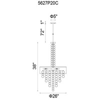 CWI Lighting 5627P20C Chained 6 Light 20 inch Chrome Chandelier Ceiling Light