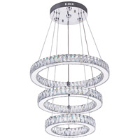 CWI Lighting 5635P20ST-3R-(CLEAR) Florence LED 20 inch Chrome Chandelier Ceiling Light