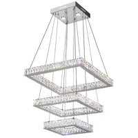CWI Lighting 5635P21ST-3S-(CLEAR) Florence LED 20 inch Chrome Chandelier Ceiling Light