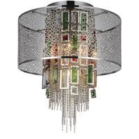 CWI Lighting 5647C18C Stained 5 Light 18 inch Chrome Flush Mount Ceiling Light