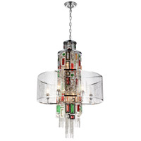 Stained 11 Light 24 inch Chrome Chandelier Ceiling Light