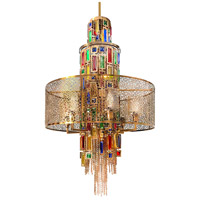 CWI Lighting 5647P24G Stained 11 Light 24 inch Gold Chandelier Ceiling Light
