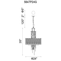 Stained 11 Light 24 inch Gold Chandelier Ceiling Light