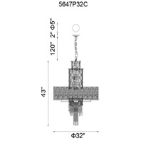 CWI Lighting 5647P32C Stained 15 Light 32 inch Chrome Chandelier Ceiling Light