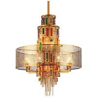 CWI Lighting 5647P32G Stained 15 Light 32 inch Gold Chandelier Ceiling Light