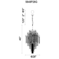 CWI Lighting 5648P26G Storm 14 Light 26 inch Gold Chandelier Ceiling Light