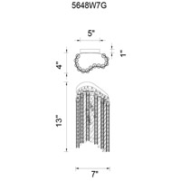 CWI Lighting 5648W7G Storm 2 Light 4 inch Gold Wall Sconce Wall Light