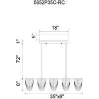 CWI Lighting 5652P35C-RC Finke 5 Light 35 inch Chrome Chandelier Ceiling Light