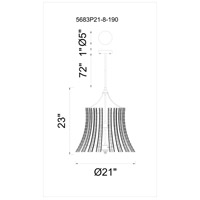 CWI Lighting 5683P21-8-190 Nile 8 Light 21 inch Antique Forged Silver Chandelier Ceiling Light