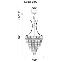 Chique 13 Light 24 inch Chrome Chandelier Ceiling Light