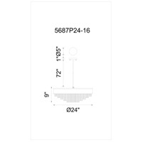 CWI Lighting 5687P24-16-101 Medina 10 Light 24 inch Black Chandelier Ceiling Light