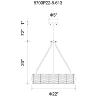 CWI Lighting 5700P22-8-613 Squill 8 Light 22 inch Bright Nickel Chandelier Ceiling Light