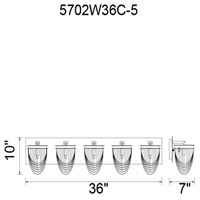 CWI Lighting 5702W36C-5 Isla 5 Light 36 inch Chrome Wall Sconce Wall Light