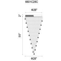 Rain Drop 10 Light 28 inch Chrome Flush Mount Ceiling Light