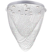 CWI Lighting 6614C32C-R-(H32) Wave 13 Light 32 inch Chrome Flush Mount Ceiling Light
