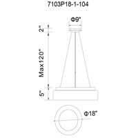 CWI Lighting 7103P18-1-104-A Arenal LED 18 inch White Drum Shade Pendant Ceiling Light