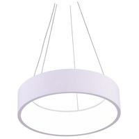 CWI Lighting 7103P24-1-104-A Arenal LED 24 inch White Drum Shade Pendant Ceiling Light