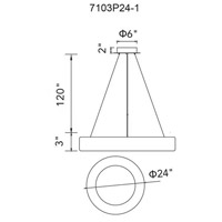 CWI Lighting 7103P24-1-167 Arenal LED 24 inch Gray Chandelier Ceiling Light