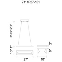 CWI Lighting 7111P27-101 Capel LED 27 inch Black Island Chandelier Ceiling Light
