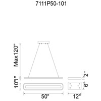 CWI Lighting 7111P50-101 Capel LED 50 inch Black Island Chandelier Ceiling Light