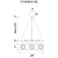 CWI Lighting 7114P29-3-103 Wrest LED 29 inch White Chandelier Ceiling Light