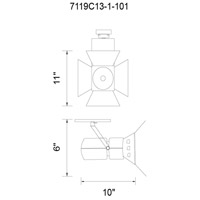 CWI Lighting 7119C13-1-101 Palco LED 10 inch Black Flush Mount Ceiling Light Monopoint Included Track Sold Separately