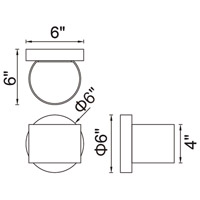 CWI Lighting 7148W5-101-R Lilliana LED Black Wall Sconce Wall Light