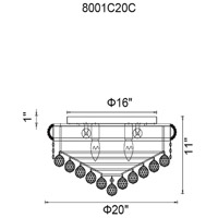CWI Lighting 8001C20G Empire 8 Light 20 inch Gold Flush Mount Ceiling Light
