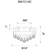 CWI Lighting 8001C24C Empire 13 Light 24 inch Chrome Flush Mount Ceiling Light