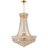 CWI Lighting 8001P24G Empire 17 Light 24 inch Gold Chandelier Ceiling Light
