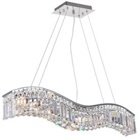 CWI Lighting 8004P30C-A-(CLEAR) Glamorous 5 Light 30 inch Chrome Pendant Ceiling Light