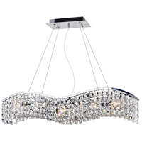 CWI Lighting 8004P30C-B-(CLEAR) Glamorous 5 Light 30 inch Chrome Chandelier Ceiling Light
