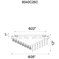 CWI Lighting 8040C26C Kingdom 12 Light 26 inch Chrome Flush Mount Ceiling Light