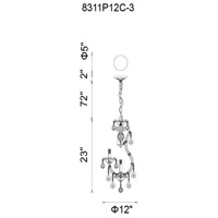 CWI Lighting 8311P12C-3 Maria Theresa 4 Light 12 inch Chrome Up Mini Chandelier Ceiling Light