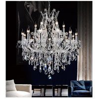 CWI Lighting 8311P32C-19-(CLEAR) Maria Theresa 19 Light 32 inch Chrome Chandelier Ceiling Light