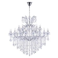 CWI Lighting 8311P60C-31-(CLEAR) Maria Theresa 31 Light 60 inch Chrome Chandelier Ceiling Light