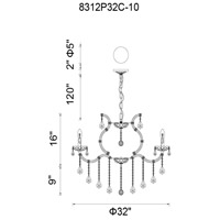 CWI Lighting 8312P32C-10 (SMOKE) Colossal 10 Light 32 inch Chrome Up Chandelier Ceiling Light