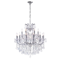 CWI Lighting 8318P30C-19-(CLEAR) Maria Theresa 19 Light 30 inch Chrome Chandelier Ceiling Light