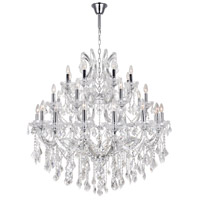 CWI Lighting 8318P42C-33-(CLEAR) Maria Theresa 33 Light 42 inch Chrome Chandelier Ceiling Light