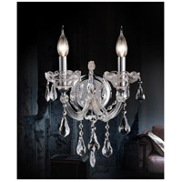 CWI Lighting 8318W12C-2-(CLEAR) Maria Theresa 2 Light 10 inch Chrome Wall Sconce Wall Light
