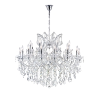 CWI Lighting 8319P36C-19-(CLEAR) Maria Theresa 19 Light 36 inch Chrome Chandelier Ceiling Light