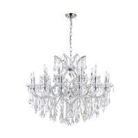 CWI Lighting 8319P42C-25-(CLEAR) Maria Theresa 25 Light 42 inch Chrome Chandelier Ceiling Light