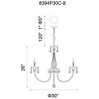 CWI Lighting 8394P30C-8 Melanie 8 Light 30 inch Chrome Chandelier Ceiling Light