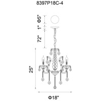 CWI Lighting 8397P18C-4(CLEAR) Maria Theresa 4 Light 18 inch Chrome Chandelier Ceiling Light