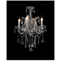 CWI Lighting 8397P18C-4(SMOKE) Maria Theresa 4 Light 18 inch Chrome Up Chandelier Ceiling Light